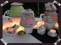 Alice In Wonderland Tea Party Ideas Mad Hatter Party, Mad Hatter Tea, Mad Hatters, Tea Party Theme, Birthday Party Themes, Birthday Ideas, Fairy Tea Parties, Mushroom Decor, Alice In Wonderland Tea Party