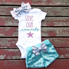 Save Our Mermaids Baby Girl Bodysuit, Under The Sea, Newborn, New Baby,Shells…