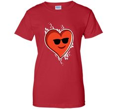 Heart Emoji Shirt Cool Shades Valentines T-Shirt