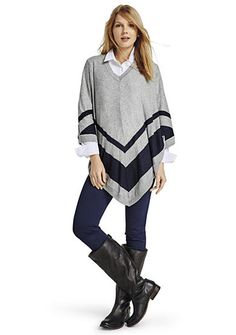 crown & ivy™ crown & ivy™ Striped Poncho Sweater, Collared Button-Front Tunic & Ponte Core Leggings