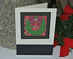 Christmas Wreath Card / Black Dot / Red by MoreFriendsAndCo, $3.50