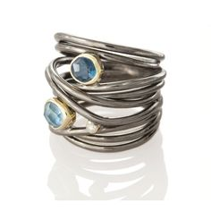 SYMMETRY JEWELRY | Margoni | Blackened Silver and 18Kt Gold Wire Ring with Aquamarine, Blue Topaz and Diamond