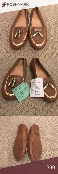 Cognac Jack Rogers leather flats. New with tags! Cognac Jack Rogers leather flats. Gold tassel and stitching. New with tags! From NYC sample sale. Women's size 6. Jack Rogers Shoes Flats & Loafers