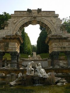 Roman Ruins Fountain at Schönbrunn Palace in Vienna, Austria (by delirious_equilibrium) My mother told me how lovely this spot was. Roman Fountain, Oh The Places You'll Go, Places To Visit, Beautiful World, Beautiful Places, Monuments, Europe Centrale, Magic Places, Ancient Ruins