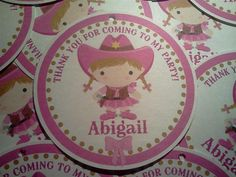 Personalized Pink Cowgirl 3 Favor Tags set of by PartyCelebrations, $5.50