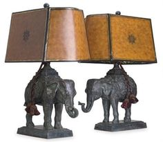 A PAIR OF BRONZE ELEPHANT-FORM TABLE LAMPS, 20TH CENTURY....................d