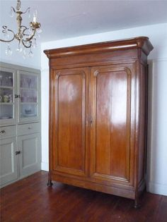 Authentic Antique Louis Philippe French Armoire Cupboard Fitted Interior Shelves