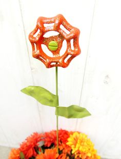 Flower Stake Orange and Gold Sparkle Valve Handle Pot Stick Yard Art