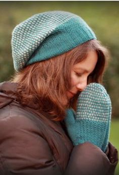 Wicker Park Slouch Hat & Mittens Set by Nicole Montgomery