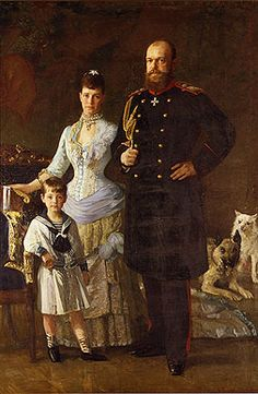 Portrait of Emperor Alexander III, Empress Maria Fedorovna and Grand Duke Mikhail Aleksandrovich, 1884, Lauritz Tuxen.    1884    Lauritz Tuxen    Canvas, oil paint    National Historical Museum, Frederiksborg, Hillerod