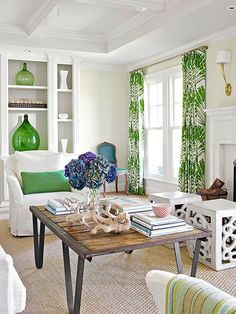palm print panels + green & white palette