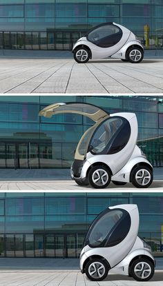 Hiriko Citycar (developed by MIT). When folded, it takes less than two thirds the length of a smartcar!