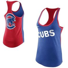 Nike Chicago Cubs Women's Tri-Blend Loose Fit Racerback Tank - Royal Blue/Red