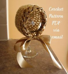 Vintage Look Crochet Newborn Bonnet with Satin Brim & Ties, CROCHET PATTERN PDF Number 206 --