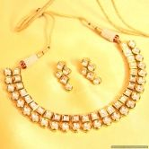 Kundan Meenakari Square Shaped Necklace Set