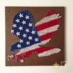 **USA Eagle Flag String Art Kit A DIY kit with step-by-step photo instructions to create string art (as pictured). DIFFICULTY LEVEL: MODERATE This kit includes all supplies except scissors, pliers, and a hammer. Included: Pre-Stained/Painted Wood (12 x 12) Pattern to attach and follow Nails String/Thread Super Glue Step-by-step instructions with pictures (Black&White) PDF of Step-by-step instructions with pictures (color) The instructions are incredibly thorough, but I will a...