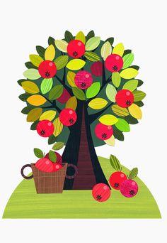 Ellen Giggenbach: My Farm illustrations, apple tree