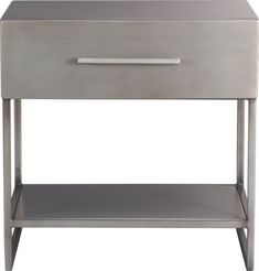 "proof nightstand in bedroom furniture | CB2 (20.25""W x17""Dx20""H) Handcrafted delustered industrial metal over wood composite - Exposed joint welding - Drawer with pull has painted interior - Made in India - AND you could easily personalize it with one of the brilliant spray paints made for metal surfaces."