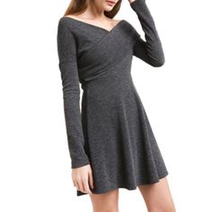 40d7056228 Haoduoyi Women s Gray Knitted Off Shoulder Long Sleeve Bodycon Mini Skater  Dress Knit Sweater Dress