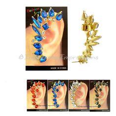 GOLD METAL MULTICOLOR RHINESTONE EAR SWEEP EAR CUFF EARRING RED BLUE CLEAR BLACK #FahionJewelry #Cuff
