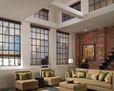 Light Filtering - Woven Wood Keeps The View In Loft Living Room - Custom Window Treatments by Jacoby Company Warehouse Living, Honeycomb Shades, Woven Wood Shades, Drapery Designs, Custom Window Treatments, Blinds For Windows, Window Coverings, Contemporary Furniture, House Design