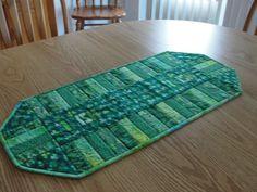 Shamrock Green Irish Quilted Table Runner