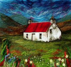 Athnamulloch bothy, Glen Affric, blank greetings card, image taken from original needle felt painting. Glen Affric, Cow Mug, Deep Box Frames, Felt Pictures, Bothy, Wool Art, Autumn Art, Scottish Highlands, Felt Art