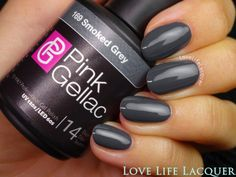 Nailpolis Museum of Nail Art | Pink Gellac Smoked Grey Swatch by Love Life…