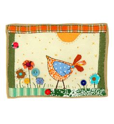 Freelance textile artist using recycled textiles, buttons and applique techniques to create folkart pictures and cards. Bird Applique, Machine Applique, Applique Quilts, Embroidery Applique, Freehand Machine Embroidery, Free Motion Embroidery, Free Machine Embroidery, Fabric Art, Fabric Crafts
