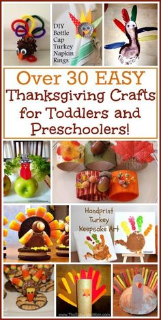More than 30 easy Thanksgiving crafts that are perfect for toddlers, preschoolers and little kids!