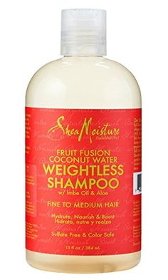 Shea Moisture Fruit Fusion Coconut Water Weightless Shampoo by Shea Moisture Best Natural Hair Products, Natural Hair Care, Natural Hair Styles, Beauty Products, Skin Products, Natural Beauty, Coconut Water Shampoo, Natural Shampoo And Conditioner, Organic Shampoo