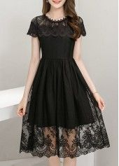 Lace Panel High Waist Short Sleeve Dress on sale only US$39.63 now, buy cheap Lace Panel High Waist Short Sleeve Dress at lulugal.com