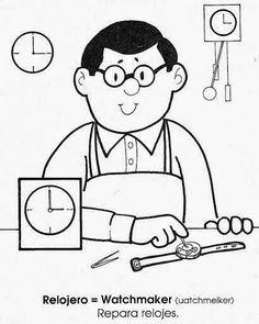 Maestra de Primaria: La profesiones en inglés y en español. Dibujos para colorear. Coloring Books, Coloring Pages, Body Preschool, Paper Crafts For Kids, When I Grow Up, Kids And Parenting, Kindergarten, Projects To Try, Clip Art