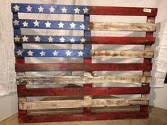 Pallet American Flag 40x48 Woodworking Guide, Custom Woodworking, Woodworking Projects Plans, American Flag Painting, American Flag Pallet, Wooden Pallets, Wooden Diy, Pallet Crafts, Wood Crafts