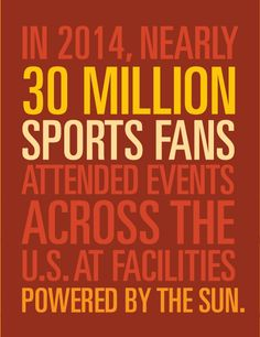 In 2014, nearly 30 million sports fans attended events across the U.S. at facilities powered by the sun!