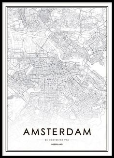 Poster with map of Amsterdam Carte New York, Amsterdam Map, Amsterdam Quotes, Amsterdam Wallpaper, Lisbon Map, City Map Poster, Map Posters, Foto Poster, Cadre Photo