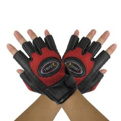 Dimart Adult Red Black Mountain Bike Driving Half Finger Glove Pair ** You can find more details by visiting the image link.