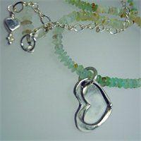 Fine Silver Heart with Peruvian Opals