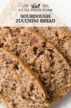 This sourdough zucchini bread is lightly sweetened and perfectly moist. A touch of cinnamon and chopped walnuts makes this quick bread recipe irresistible! It's a great way to use sourdough starter discard. Sourdough Starter Discard Recipe, Zuchinni Bread, Zucchini Bread Recipes, Sourdough Recipes, Healthy Zucchini Bread, Easy Yeast Rolls, Easy Homemade Recipes, Fast Easy Meals, Breads