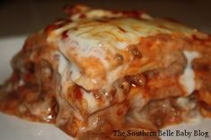My Mexican Lasagna... tastes like a cheesy awesome burrito!