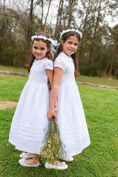 Flower Girl dresses , white smocked cotton dress ,