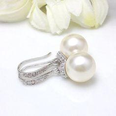 Pearl Bridal Earrings Cubic Zirconia Earrings by BeYourselfJewelry, $22.99