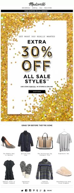 Big text pic with visual feature, then individual products - Madewell website