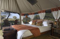 The Elephant Bedroom Camp is located within the Samburu National Reserve and offers luxury tented accommodation.