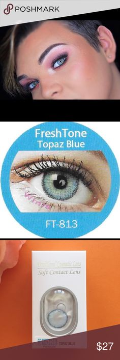 ⚡️TOPAZ BLUE COLORED LENSES TRENDY LOOK FREE CASE ⭐️WE SHIP DAILY!!!⭐️ SHIPPING takes 1-3 business days Case Included  Yearly, Monthly Lenses 14.5mm Diameter Base Curse: 8.6mm No Prescription Made in South Korea   100 DIFFERENT COLORS, 7 DIFFERENT BRANDS COLLECTION. PLEASE CHECK MY PAGE  FRESHTONE FRESHTONE DIVA BELLALENS HIDROCOR (SOLITICA COMPETITIVE) FRESHGO FRESHLOOK AIR OPTIX  ❤️OUR MISSION IS TO BRING SATISFICATION TO OUR CUSTOMER❤️ EyeQ Boutique   Tag: lens, contact, cosmetic, make Cosmetic Contact Lenses, Brand Collection, South Korea, Different Colors, The Darkest, Topaz, Cosmetics, Check, Korea
