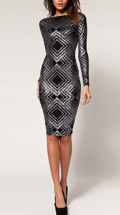 New Sequin Long Sleeve High Neck Bandage Midi Dress