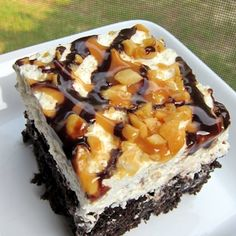 Chocolate Snickers Cake - We call this the death cake because it's the most recommended cake.