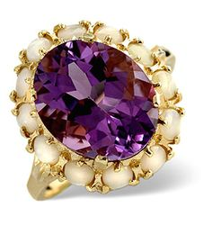 Amethyst 12 x 10mm And Opal 9K Gold Ring - Item A3118