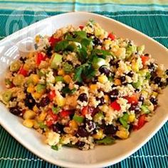 """Black Bean and Couscous Salad """"This is a great salad for a buffet, with interesting textures and southwest flavors combined in one delicious salad. Leftovers store well refrigerated for several days. Clean Eating Recipes, Raw Food Recipes, Vegetarian Recipes, Healthy Eating, Cooking Recipes, Healthy Recipes, Healthy Foods, Couscous Salad Recipes, How To Make Salad"""