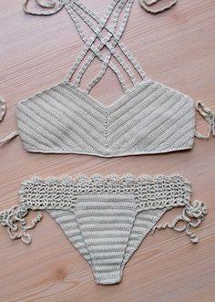Crochet Beige Bikini, Women Swimwear, Beach Wear, 2015 Summer Trends. !!! FORMALHOUSE